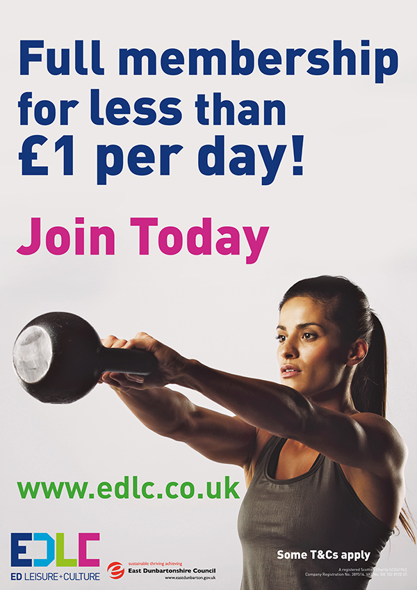 post with image of kettle bell swing in action and text saying Full memebership for less than a £1 per day Join today