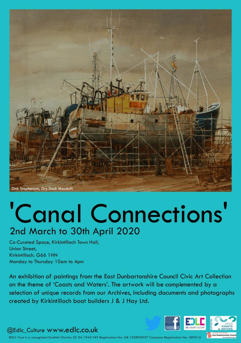 Poster with ship image advertising Canal Connections exhibitions