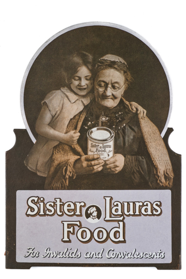 Woman and child reading label on can