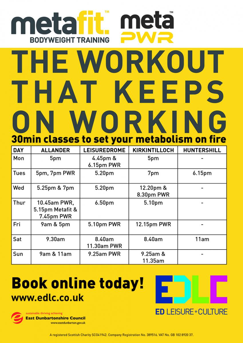 metafit workout timetable